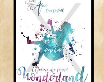 Alice falls to Wonderland Print