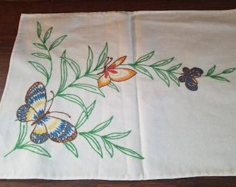 Vintage Hand-Embroidered Dresser Scarf
