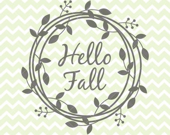 Hello Fall SVG & PNG, Fall Clipart, Wreath svg, Wreath Clipart, Fall SVG, Fall Clipart, Commercial Use,