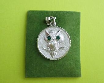 Vintage Owl Charm - Sterling Silver with Green Rhinestone Eyes