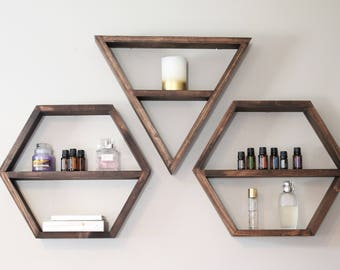 Geometric Shelf, Triangle Shelf, Hexagon Shelf, Shelves, Shelving, Bohemian Shelves, Modern Shelving
