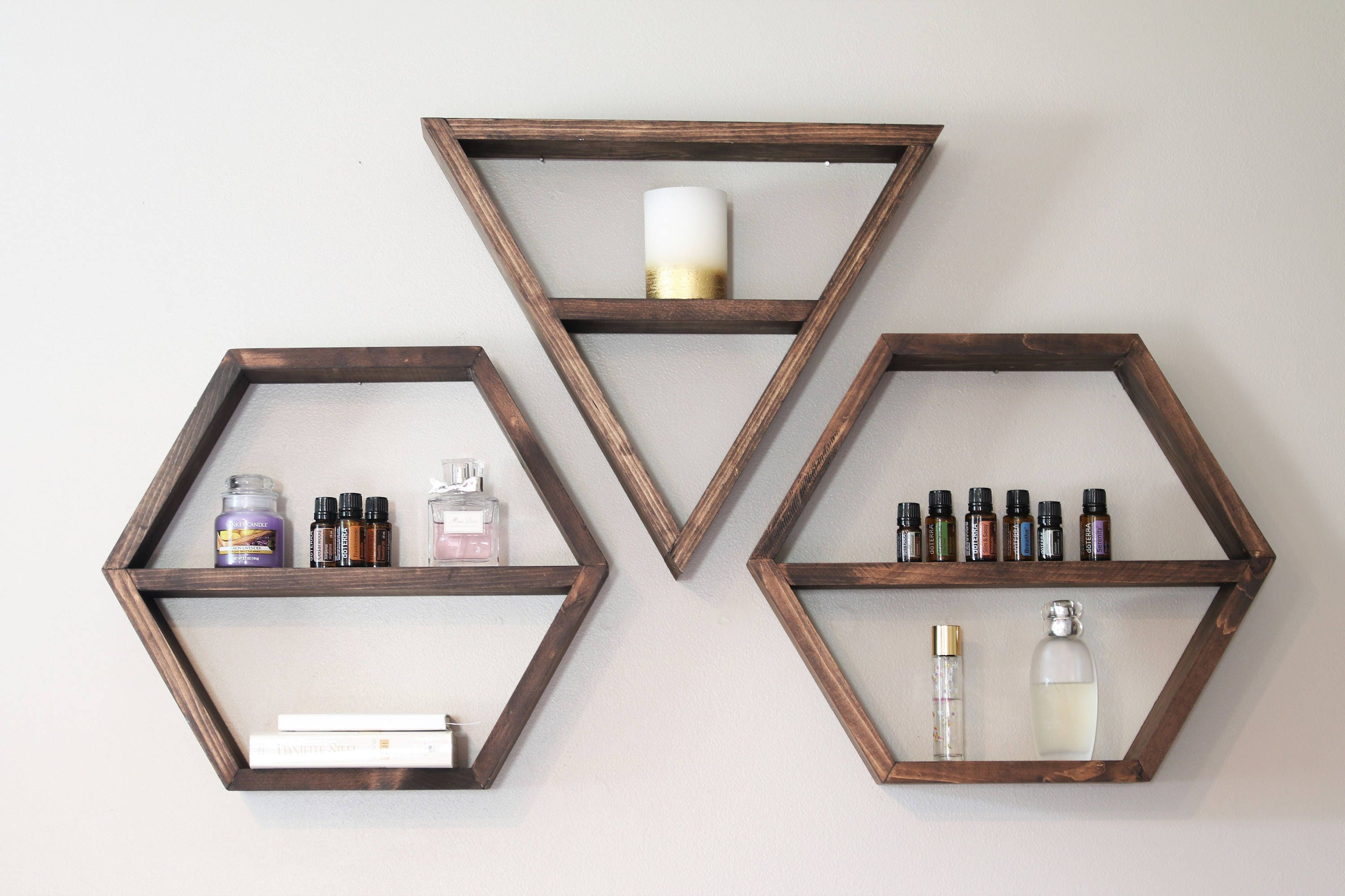 Honeycomb shelf honeycomb shelves hex shelves hexagon geometric shelf triangle shelf hexagon shelf shelves shelving bohemian shelves amipublicfo Gallery