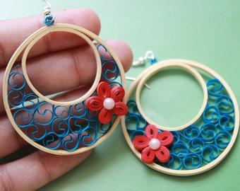 quilling earrings-blue hoop earrings-cream hoops-paper jewelry-stylish earrings-abstract earrings-new design earrings-statement jewelry