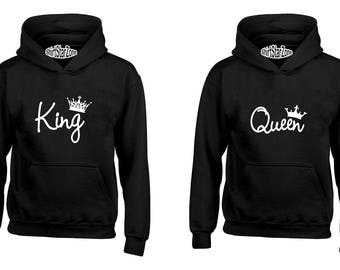 Couple Hoodies KING and QUEEN Fasion Couples Cute Matching Love Couples Valentine's Day Gift