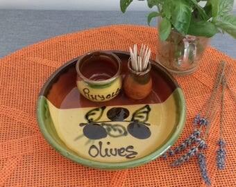 Aperitif dish olive glazed pottery