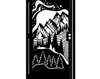 Decorative Mountain Steel Gate - Metal Art - Mountain View - Scenic Steel Art - Scenic Gate - Mountain Gate - Walkway Gate - Nature Gate