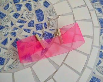 Wide Sheer Pink Ribbon Choker