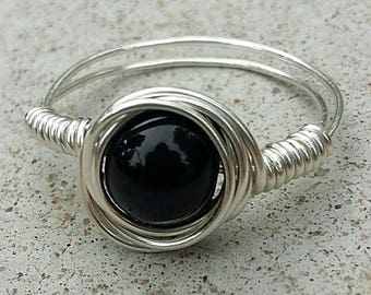 Black onyx ring//wire wrapped black ring//sterling silver filled ring//black bead