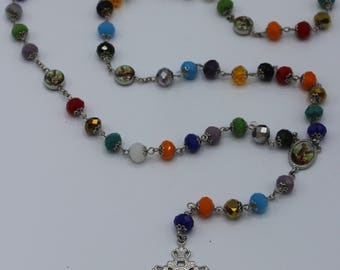Full Five Decade Rosary in Bright Multi-Color Glass Crystals with St. Michael Fatima Beads