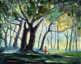 "Walking In Forest Park at morning Limited Edition Art Print On Canvas by Original Painting Size: 20"" X 24"" Inches"