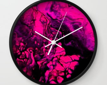 Wall Clock, Original Art Print Clock, Interior - Pink Darkness. Custom Order, Pre Order