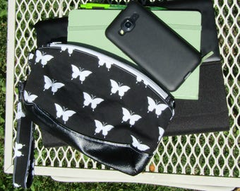 Butterfly Print Wristlet Black Free Shipping in US