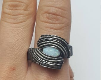 Size 9~ White opal~ Wire Wrapped ring~ Oxidized Sterling Silver
