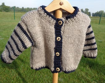 vest 6 months boys acrylic taupe and Navy