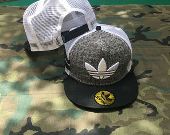 Adidas Snapback Hat Cap Beretto grid White Men Women Summer Hip Hop Trap