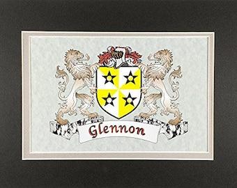 "Glennon Irish Coat of Arms Print - Frameable 9"" x 12"""