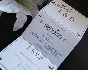 Birds Tri Fold Wedding Invitations with detachable RSVP card