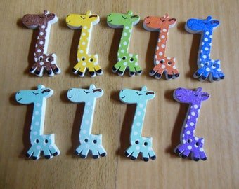 Giraffe wooden button or embellishment sewing