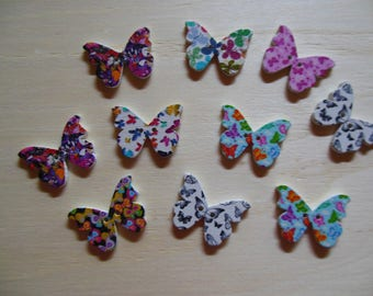 Butterfly wooden button or embellishment sewing