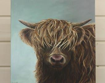 "Hattie 12"" x 12"" canvas - highland cow print, farmyard, painting, art by Ingrid Hill"