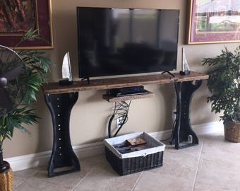Reclaimed Barn Wood Industrial TV stand