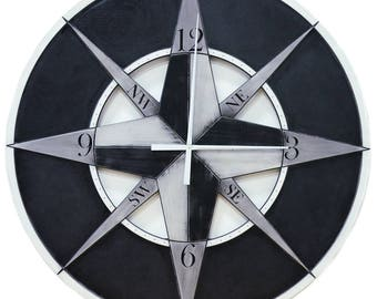 "48"" Compass Wall Clock // Custom Wall Clock"