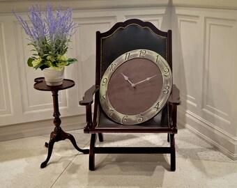 """24"""" Circle Wall Clock, Custom Wall Clocks, Rustic Wall Clock, Unique Wall Clock, Steampunk Wall Clock, Industrial Wall Clock, Metallic Clock"""