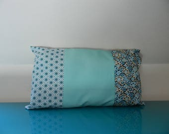 Rectangular cushion 30 x 50 patchwork pastel geometric fabric