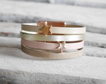 Gold Leather Cuff Bracelet, taupe, pink & beige with rose gold stars (BR110) loops