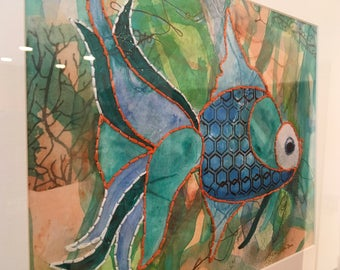FRAMED FISH Giclee 18 x16 inches, #FT1