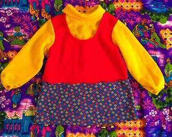 Vintage Kids Baby Mod Flower Power Turtleneck Mini Dress Three In One