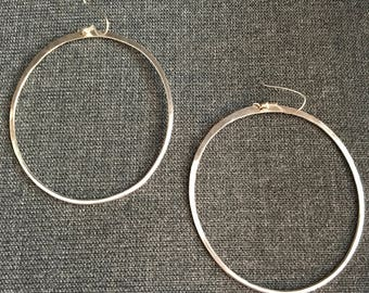Extra-Large Oval Sterling Silver Hoops