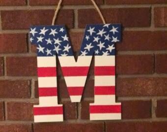Monogrammed Patriotic Door Hanger
