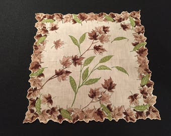 Vintage Linen Hankie with Fall Leaves