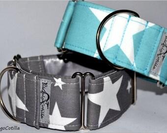 Stars - Martingale collar for galgos, greyhound, dogs, adjustable, 100% cotton. El Galgo Cotilla