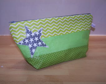 Customizable cotton coated in green and grey clutch