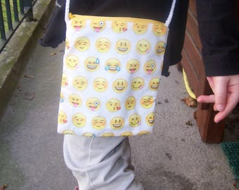 "Pouch personalized kids cotton printed ""emoticons"""