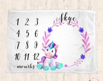 Monthly Milestone Blanket - Personalized Baby Blanket - Milestone Blanket - Unicorn Baby Blanket - Baby Blanket - Baby Shower Gifts- unicorn