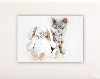 Cat - Watercolor prints, watercolor posters, nursery decor, nursery wall art, wall decor, wall prints 9 | Tropparoba 100% made in Italy