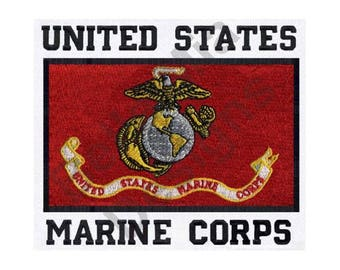 Flag - Machine Embroidery Design, Marine Corps Flag