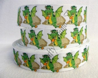 "Fire Breathing Green Dragon on 1"" Grosgrain Ribbon by the yard. Choose 3/5/10 yards. Dragon is a mythical, legendary, fire-spewing creature"