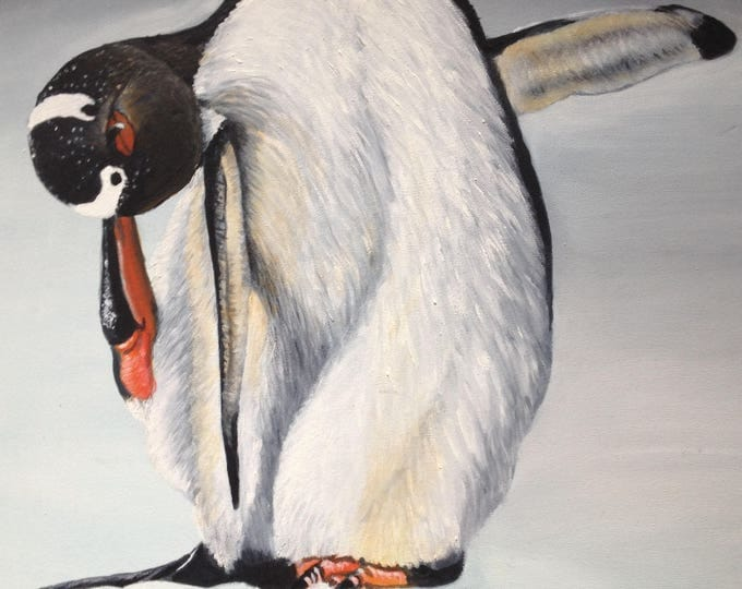 Facing The Cold Oil Painting Of A Penguin 20x24 inch Unframed Painting, Oil Painting of Penguin, Custom Oil Paintings, Wildlife Oil Painting