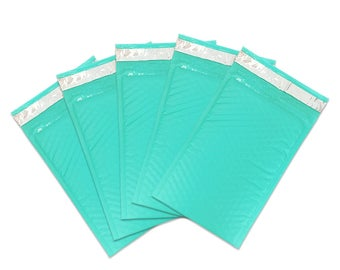 "4"" x 8"" Teal Blue Padded Bubble Mailer Envelopes - Lightweight Waterproof Self Adhesive Sealing Shipping Supplies - Protect Fragile Items"