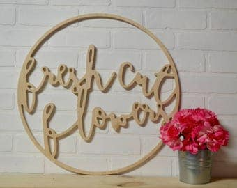 Large Fresh Cut Flowers Wood Circle Wall Art Word Cut Out Spring Home Decor  GARDEN