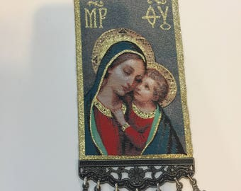 Medium Woven Wall Hanging Religious Tapestry Madonna & Child Icon Crucifix Cross US SELLER