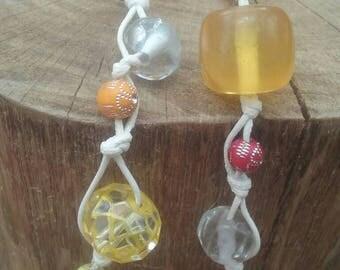 Hemp plastic bead necklace orange red yellow white 14 inch lobster clasp closure