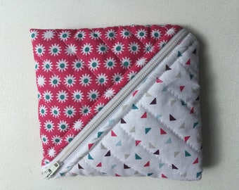 Diagonal zip coin purse