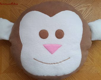 Baby pillow gift Play pillow Monkey Jungle animal cushion Stuffed monkey Stuffed animal Animal face Pink pillow Monkey toy Bedtime toy
