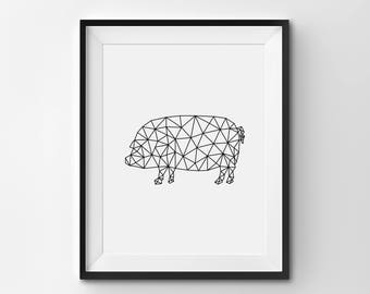 Pig Wall Art, Pig Illustration, Origami Pig, Geometric Pig Art Print, Printable Pig Poster, Pig Nursery Art, Black and White Modern Art