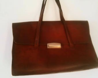 vintage leather purse / bag with teacher / french teacher bag / leather carrying bag / satchel, purse